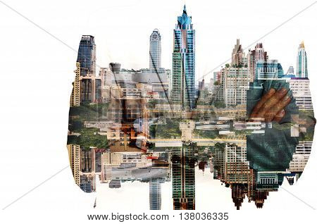 Double Exposure Of Businessman And City Building