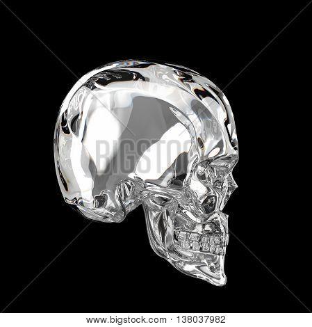 shiny glossy dark glass skull 3d render isolated on black background