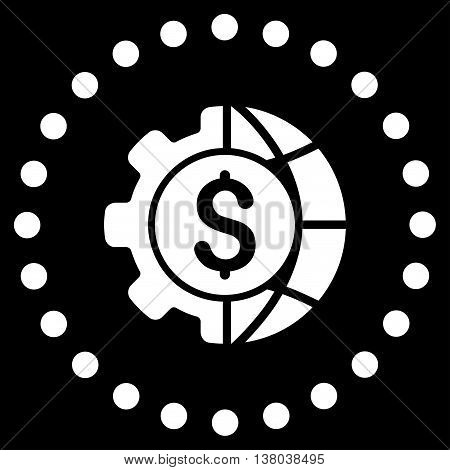 World Industry Finances vector icon. Style is flat circled symbol, white color, rounded angles, black background.