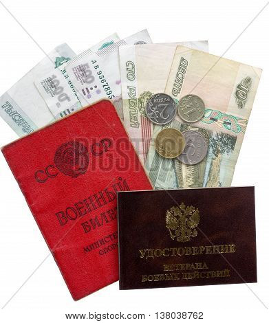 Russian documents - military ID card veteran ID card and retirement pay isolated on white background