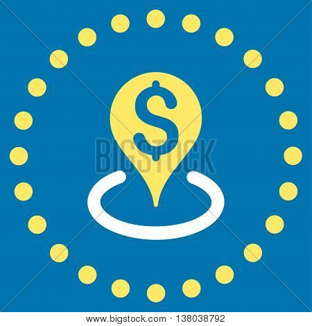 Bank Location vector icon. Style is bicolor flat circled symbol, yellow and white colors, rounded angles, blue background.