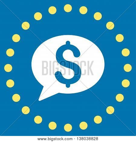Bank Message vector icon. Style is bicolor flat circled symbol, yellow and white colors, rounded angles, blue background.