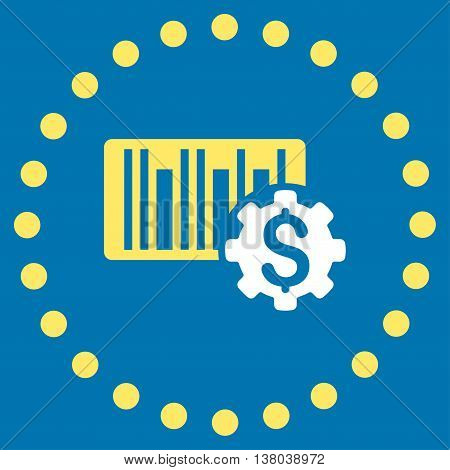 Barcode Price Setup vector icon. Style is bicolor flat circled symbol, yellow and white colors, rounded angles, blue background.