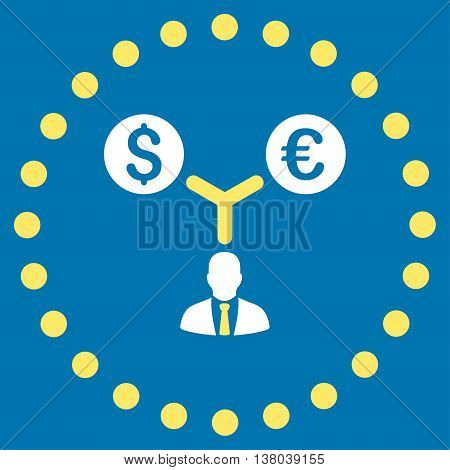 Currency Management vector icon. Style is bicolor flat circled symbol, yellow and white colors, rounded angles, blue background.