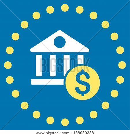 Dollar Bank vector icon. Style is bicolor flat circled symbol, yellow and white colors, rounded angles, blue background.