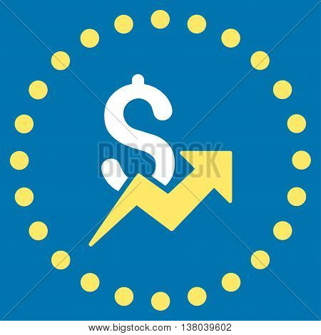 Dollar Growth vector icon. Style is bicolor flat circled symbol, yellow and white colors, rounded angles, blue background.