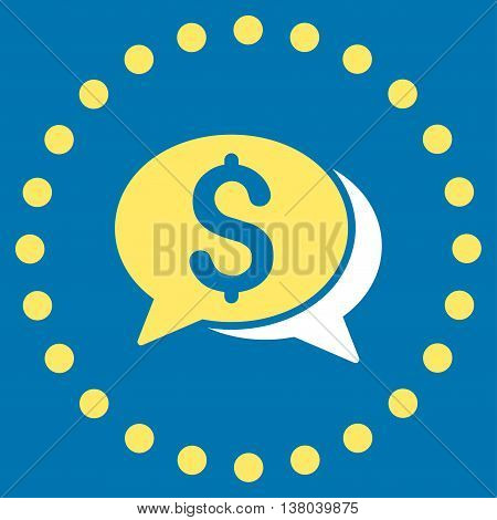 Financial Chat vector icon. Style is bicolor flat circled symbol, yellow and white colors, rounded angles, blue background.