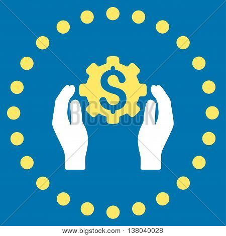 Financial Insurance Options vector icon. Style is bicolor flat circled symbol, yellow and white colors, rounded angles, blue background.