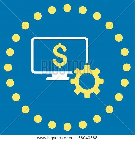 Financial Monitoring Options vector icon. Style is bicolor flat circled symbol, yellow and white colors, rounded angles, blue background.