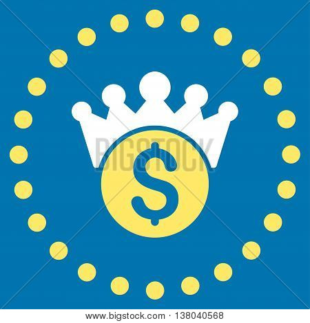 Financial Power vector icon. Style is bicolor flat circled symbol, yellow and white colors, rounded angles, blue background.