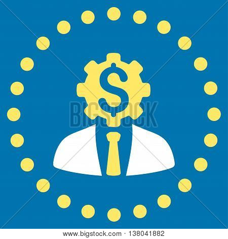 Office Worker vector icon. Style is bicolor flat circled symbol, yellow and white colors, rounded angles, blue background.