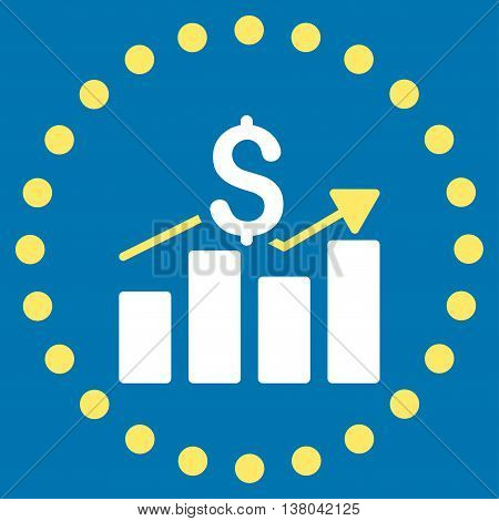Sales Bar Chart vector icon. Style is bicolor flat circled symbol, yellow and white colors, rounded angles, blue background.