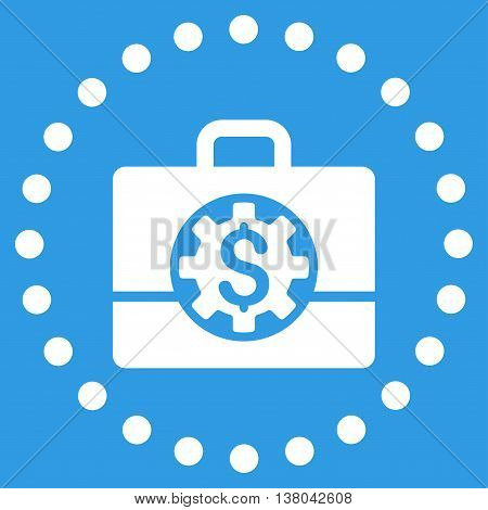 Bank Career Options vector icon. Style is flat circled symbol, white color, rounded angles, blue background.