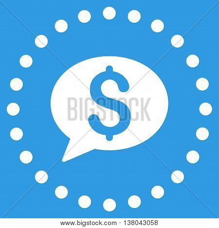 Bank Message vector icon. Style is flat circled symbol, white color, rounded angles, blue background.