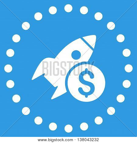 Business Startup vector icon. Style is flat circled symbol, white color, rounded angles, blue background.