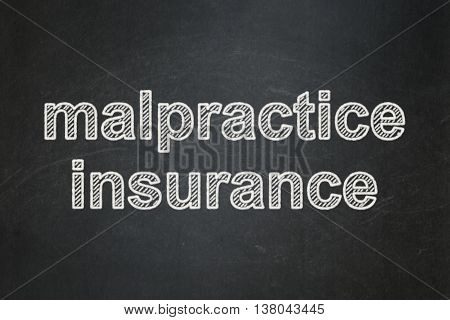 Insurance concept: text Malpractice Insurance on Black chalkboard background