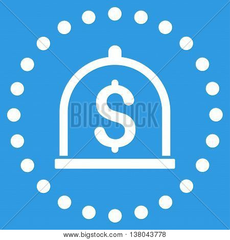 Dollar Deposit vector icon. Style is flat circled symbol, white color, rounded angles, blue background.