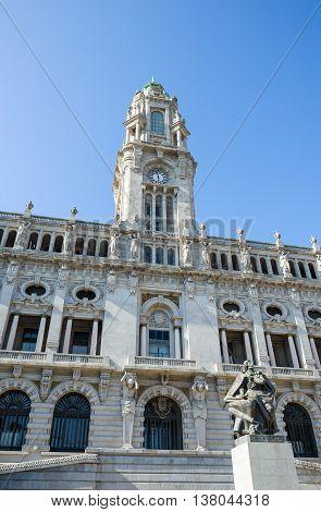 Principal facade of Paco do Concelho city hall of Porto and monument to Almeida Garrett Portugal.