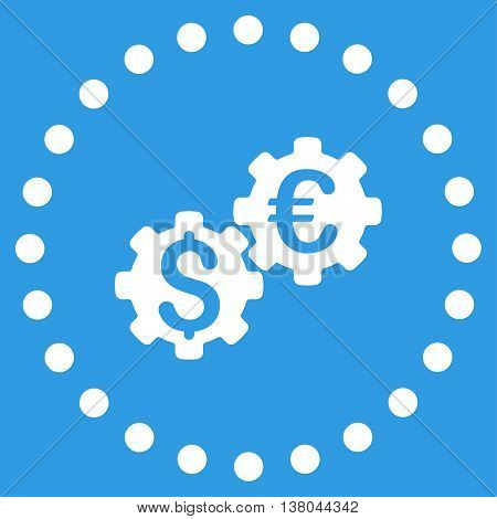 Financial Mechanics vector icon. Style is flat circled symbol, white color, rounded angles, blue background.