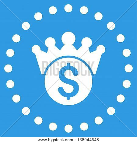 Financial Power vector icon. Style is flat circled symbol, white color, rounded angles, blue background.