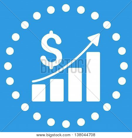 Financial Report vector icon. Style is flat circled symbol, white color, rounded angles, blue background.