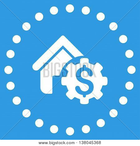 House Rent Options vector icon. Style is flat circled symbol, white color, rounded angles, blue background.