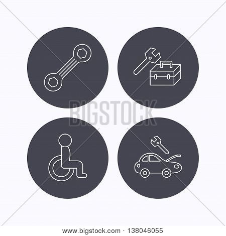Repair toolbox, spanner tool and car service icons. Disabled person linear sign. Flat icons in circle buttons on white background. Vector poster
