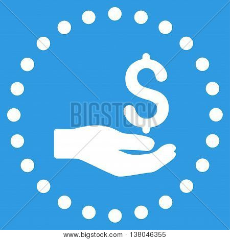 Payment vector icon. Style is flat circled symbol, white color, rounded angles, blue background.