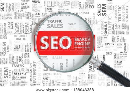 Search Engine Optimalization. Seo Word In Tag Cloud Zoomed In Wi