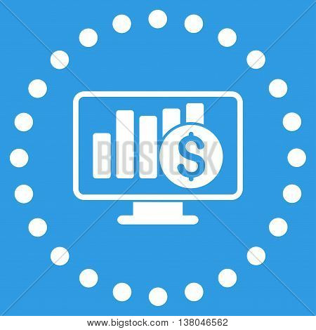 Stock Market Monitoring vector icon. Style is flat circled symbol, white color, rounded angles, blue background.