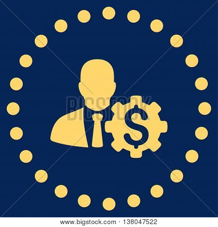 Banker Options vector icon. Style is flat circled symbol, yellow color, rounded angles, blue background.