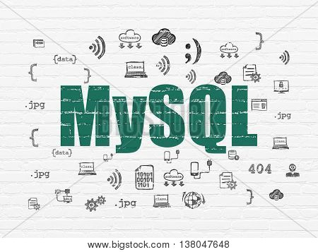 Programming concept: Painted green text MySQL on White Brick wall background with  Hand Drawn Programming Icons