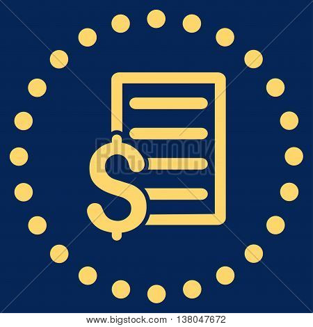 Contract vector icon. Style is flat circled symbol, yellow color, rounded angles, blue background.