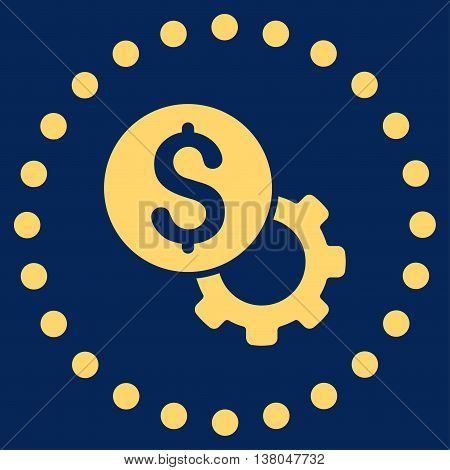 Development Cost vector icon. Style is flat circled symbol, yellow color, rounded angles, blue background.