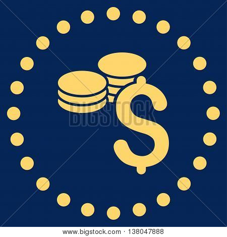 Dollar Coins vector icon. Style is flat circled symbol, yellow color, rounded angles, blue background.