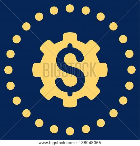Dollar Options vector icon. Style is flat circled symbol, yellow color, rounded angles, blue background.