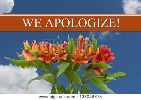 We Apologize message with a orange and yellow lilies bouquet with a sky background