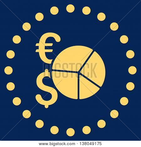 Financial Pie Chart vector icon. Style is flat circled symbol, yellow color, rounded angles, blue background.