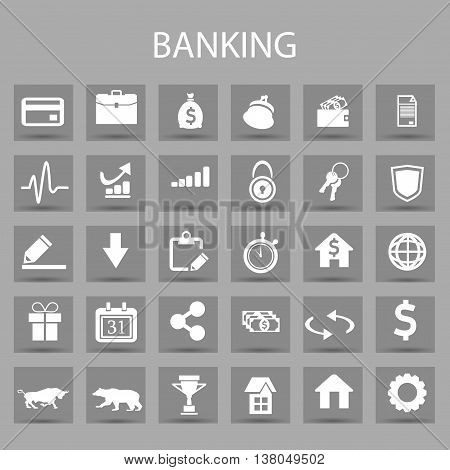 Vector flat icons set and graphic design elements. Illustration with banking and finance outline symbols. Bank, card, wallet, coin, safe, money bag, cash, dollar, euro, pound linear pictogram