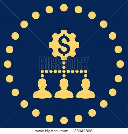 Industrial Bank Clients vector icon. Style is flat circled symbol, yellow color, rounded angles, blue background.