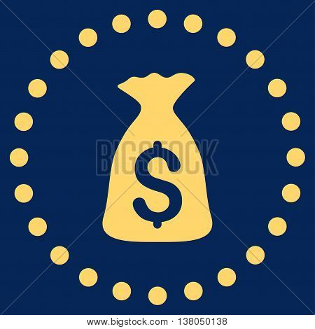 Money Bag vector icon. Style is flat circled symbol, yellow color, rounded angles, blue background.