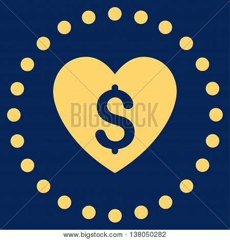 Paid Love vector icon. Style is flat circled symbol, yellow color, rounded angles, blue background.