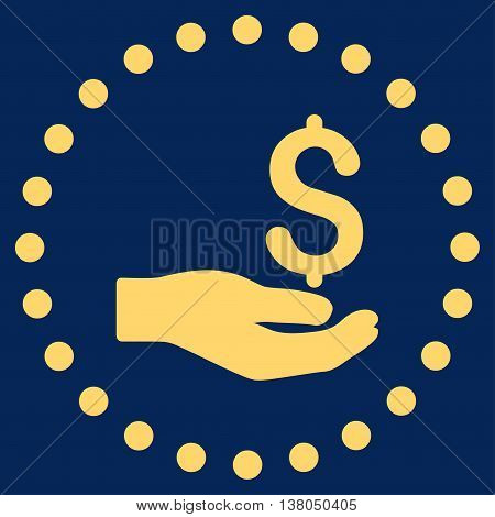 Payment vector icon. Style is flat circled symbol, yellow color, rounded angles, blue background.