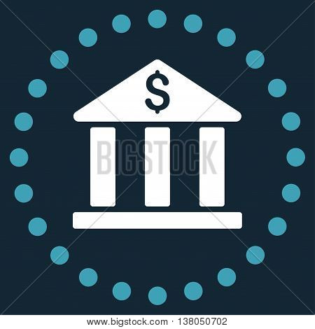 Bank Building vector icon. Style is bicolor flat circled symbol, blue and white colors, rounded angles, dark blue background.