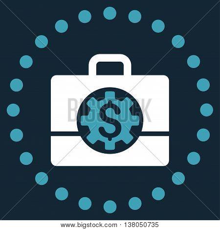 Bank Career Options vector icon. Style is bicolor flat circled symbol, blue and white colors, rounded angles, dark blue background.