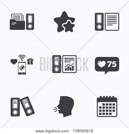 Accounting report icons. Document storage in folders sign symbols. Flat talking head, calendar icons. Stars, like counter icons. Vector