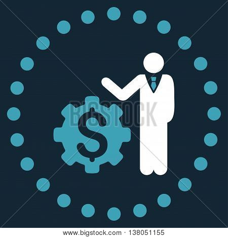Businessman Options vector icon. Style is bicolor flat circled symbol, blue and white colors, rounded angles, dark blue background.