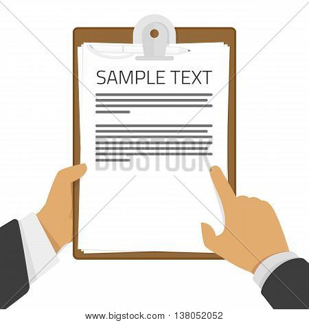 Man holds a clipboard. A blank sheet of paper to write. Flat icon modern design style vector illustration concept. Man points finger area for text. Place for communication, questionnaire, report.