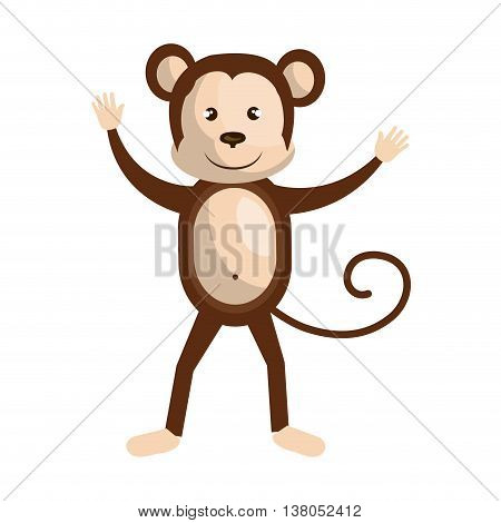 Circus monkey doing pirouettes cartoon design, vector illustration graphic.