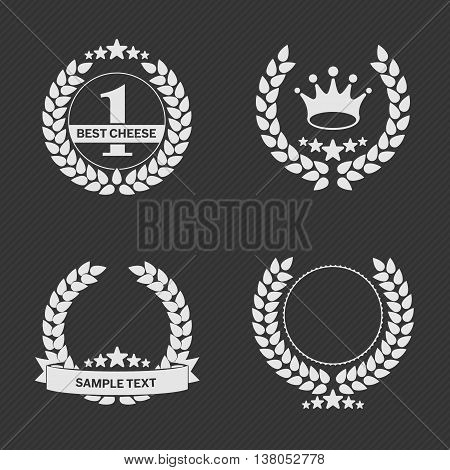 Vector set of a laurel wreath with a ribbon for an inscription. Vector Laurel Wreath Flora theme on a white background set. Laurel wreath vector icon in a flat style.